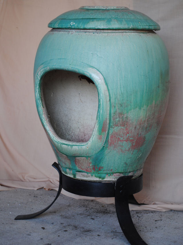 Small Undecorated Raku – Turquoise and copper